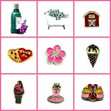 Floating Charms Glass Memory Lockets-tutu, wine, bath, turkey, chocolates, barn