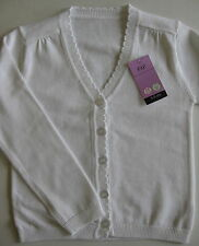 Girls pretty knitted white cotton cardigan age 5-6 and 6-7 BNWT