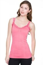 WOMEN'S SEAMLESS LACE STRAP LACE TRIM RUCHED CAMISOLE TANK TOP SOLID COLORS