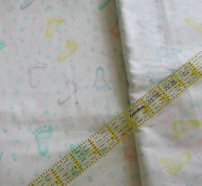Vtg 80s cotton fabric percale or CHOOSE flannel BABY FOOT footprint pastel BTHY