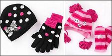 Girls Size Small 4/6 Large 8/10 2 PC Hat Mittens Gloves Polka Dot NWT