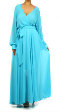 1X 2X * LIGHT BLUE FULL SWEEP Chiffon MAXI DRESS Wrap SHEER Wrap Gown Long PARTY
