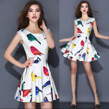 NEW!Spring Womens fashion Elegant Fresh Bird Floral Print Slim Sleeveless Dress