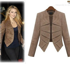 2014 New Fashion Large Size Womens Jackets Faux Suede Leather Crop Tops Jackets