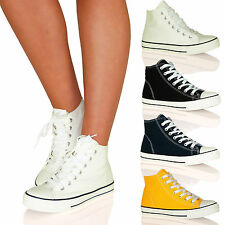 WOMENS TRAINERS LADIES SNEAKERS SHOES LACE UP HI HGH TOPS RUBBER CANVAS NEW SIZE