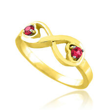 Yellow Gold Infinity Birthstone CZ Infinity Ring Available in all 12 Month Color