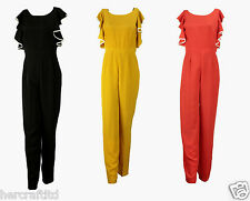 COLLECTION LONDON Womens Ladies Black Gold Red Frilly Jumpsuit Playsuit 8 - 18