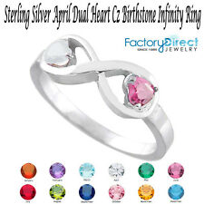 Perfect Gifts April Dual Heart CZ Birthstone Infinity  Silver Ring Mix Stones!