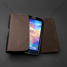 Premium Brown PU Leather Case Pouch Belt Clip for Samsung GALAXY S5 SV I9600