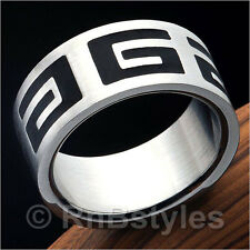 Quality Mens 316L Stainless Steel Band Greek Symbol Ring 10mm