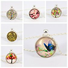 Handmade  Fashion Star Universe Image Glass Pendant Chain Necklace