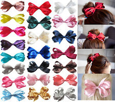 "6"" Large Handmade Girls Ribbon Boutique Ponytail Hair Bun Bow Clips Accessories"