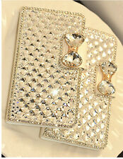 Luxury Leather Bling Crystal Diamond Bow Wallet Case Iphone Samsung Mobile Phone