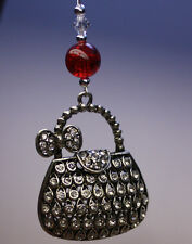 NOVELTY Christmas Tree Ornament Decoration Silver Handbag with Swarovski Crystal