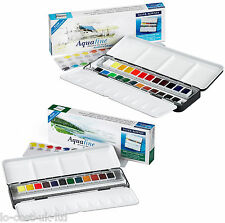 DALER ROWNEY ARTIST AQUAFINE WATERCOLOUR PAINT METAL BOX - HALF PAN & BRUSH SETS