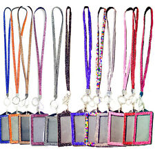 Rhinestone Bling Bling Crystal Lanyard Cell Phone + Vertical ID Badge Holder BTE