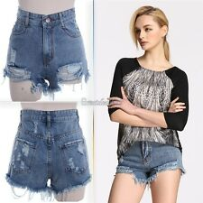 Women Retro New High Waisted Shorts Jeans Ripped Tassel Hole Short Denim Pants