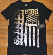 Rock & Republic Silver Foil Accent American Flag Tee T-Shirt MSRP $28.00 July 4