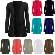 Ladies Women Front Pocket Long Sleeve Casual Stretch Cardigan Top Plus Sizes