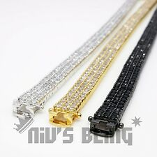 3 Row AAA Gold Silver Gunmetal Bling Iced Out Tennis Anklet Lab Diamond Bracelet