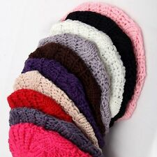 Hot chic 10 Colors Warm Winter Women Beret Braided Baggy Beanie Hat Ski Cap