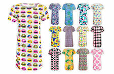 Womens Ladies New Printed Summer Festival Short Tunic Shift Mini Dress Top 8-14