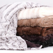 Decorative Reversible Faux Fur & Mink Throw Blanket 50 X 60 Rib Pattern
