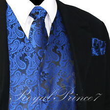 Royal XS to 6XL Paisley Tuxedo Suit Dress Vest Waistcoat & Neck tie & And Hankie