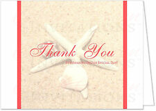 Starfish & Sand Beach Wedding Thank You Notes, Customized, Any Color, Set of 10