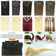 """Full Head Thick 120gW 24""""26""""28""""30""""L 7Pcs Remy Clip In Real Human Hair Extensions"""