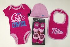 NIKE 5-pc GIFT SET Baby GIRLS Bodysuits, Bib, Hat & 2 Pairs of Booties 0-6Months