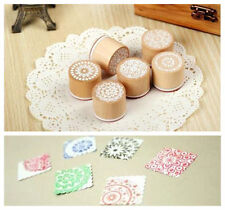 New 6 Model Cute little DIY Lace pattern Wooden Round Rubber Stamp