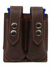 NEW Barsony Brown Leather Double Magazine Pouch for Taurus Compact 9mm 40 45