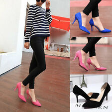 New Women's Lady High Heel Pointed Toe Shallow Shoes Stiletto Black Blue
