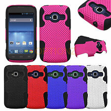 For ZTE Concord 2 II Z730 APEX Net Mesh Dual Layer Hybrid Case Skin Gel Cover