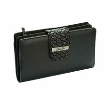 Buxton Women's Hailey Braided Tab Large Super Wallet Clutch Faux Leather