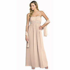 Beaded Strapless Formal Long Evening Gown Bridesmaid Dress with Shawl Champagne