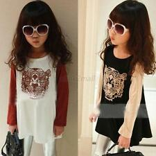 Fashion Kids Baby Girls Blouse Cotton Tiger Pattern Child T-shirt Clothes Tops