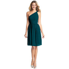 Graceful One Shoulder Chiffon Cocktail Evening Party Bridesmaid Dress Teal