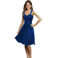 Sweetheart Pleated Chiffon Cocktail Evening Party Bridesmaid Dress Cobalt Blue