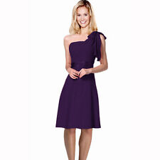 Sexy Overlay One Shoulder Knee Length Cocktail Bridesmaid Party Dress Purple