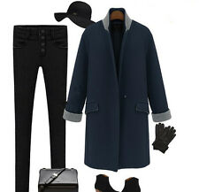 2014 New Fashion Women's Autumn Winter Warm Long Woollen Trench Coat Jackets