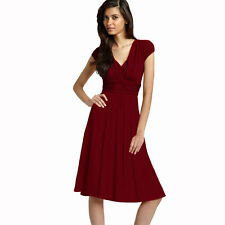 Ruched Cap Sleeves Chiffon Cocktail Evening Dress Prom Party Wear Burgundy