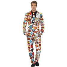 Mens Funky Comic Strip Stand Out Suit Stag Fancy Dress Smart Fashion Festival