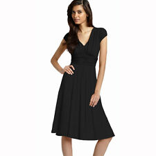 Ruched Cap Sleeves Chiffon Cocktail Evening Dress Prom Party Wear Black