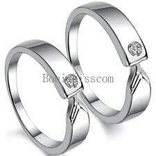 Silver Tone Couple Lovers CZ Promise Engagement Ring Anniversary Wedding Band