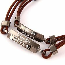 "Couples "" I love You "" ID Brown Artificial Leather Bracelet Lovers Promise Gifts"