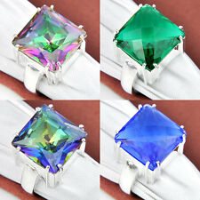 Sweetie Gift High Grade Rainbow Fire Mystical Topaz Gems Silver Ring Jewelry