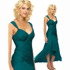 Stylish Floating High-Low Formal Cocktail Evening Party Bridesmaid Dress Teal