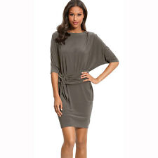 Batwing Sleeves Crewneck Jersey Party Day Night Cocktail Evening Dress Dark Grey